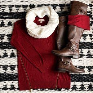 MK Xmas Red Zipper Sweater